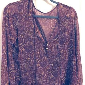 Burgundy Long Sleeve top with Design